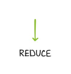 handwritten lettering of reduce vector image