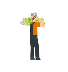 handyman carrying rolls wallpaper on shoulder vector image