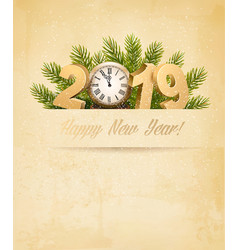 happy new year 2019 background with tree vector image