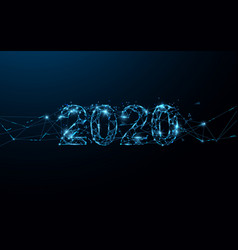 Happy new year 2020 banner form lines and particle vector
