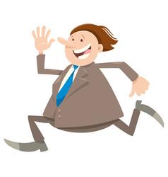 Happy running businessman character vector
