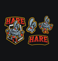 hare wrestling mascot sport logo vector image