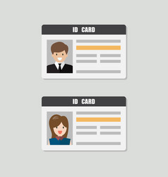 Id cards with male and female photo vector
