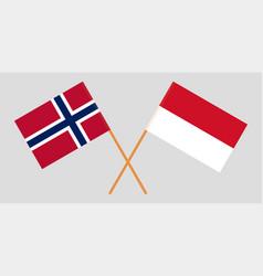 Indonesian and norwegian flags vector