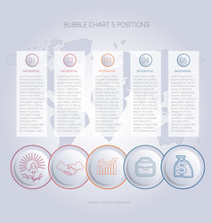 infographics color bubble chart template for 5 vector image