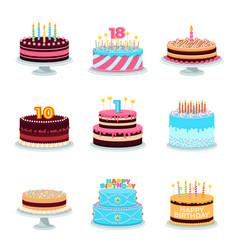 isolated cartoon cake birthday cakes decorated vector image