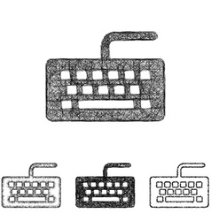 Keyboard icon set - sketch line art vector image