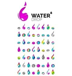 Large set of abstract eco water icons business vector image