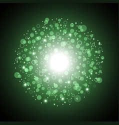 Light circle with dots and sparks green color vector