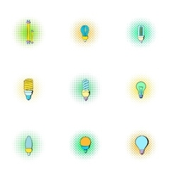 Lighting icons set pop-art style vector
