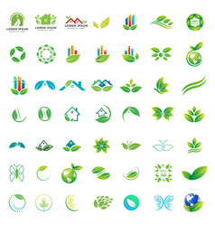 logo collection green nature health care vector image