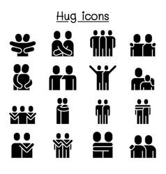Love hug friendship relationship icon set graphic vector