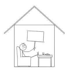 Man enjoying to be in home in his house holding vector