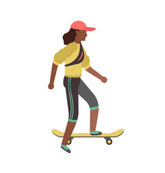 man riding on skateboard simple young character vector image