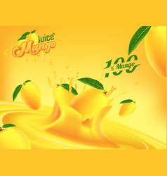mango juice advertising banner ads template vector image
