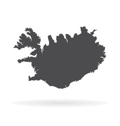 Map iceland isolated black vector