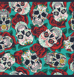 mexican day dead seamless pattern vector image