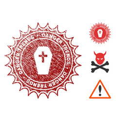 Mortal danger trends stamp with dust style vector
