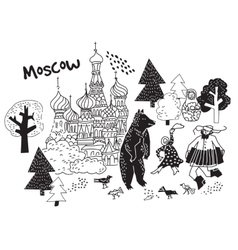 Moscow city black and white scene vector image