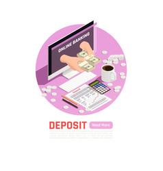 online banking deposit background vector image