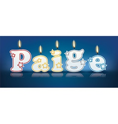 PAIGE written with burning candles vector image