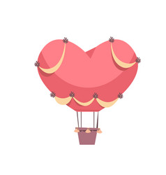 Pink air balloon in shape heart valentines day vector