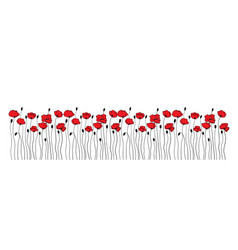 Poppy flowers and buds borders ornaments floral vector