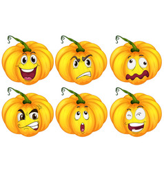 pumpkins with different facial expressions vector image