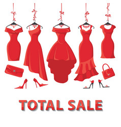 Red summer dresses and accessories setSale vector image
