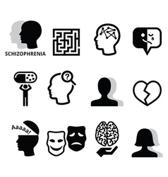 Schizophrenia mental health psychology icons vector