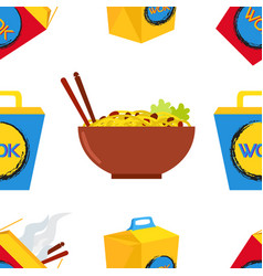 Seamless pattern of wok asian chinese food vector