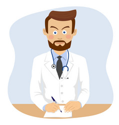 Serious doctor writing prescriptopn in office vector