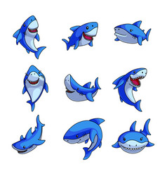 set colorful blue shark in different comic vector image