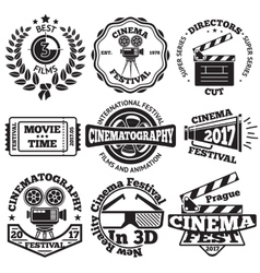 Set of Cinema badges with camera clapboard vector image