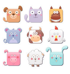set of cute square farm animals isolated on white vector image