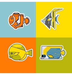 set of stylized fish vector image vector image