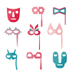 Set of variegated carnival and tribal masks vector