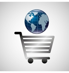 Shiny shopping cart globe online commerce vector