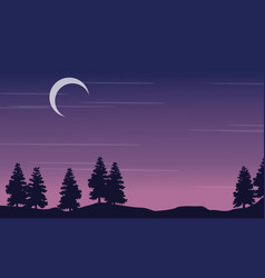 Silhouette landscape tree with moon at night vector