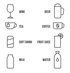 simple beverage outline icon set with name vector image