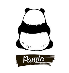 Sitting panda rear view vector