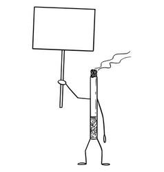 Smoking cigarette cartoon character holding empty vector