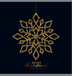 snowflake christmas design in black and gold color vector image