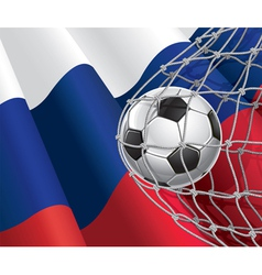 Soccer goal and Russia flag vector