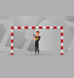 Soccer wating goalkeeper character design vector