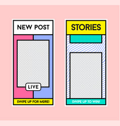stories template in memphis retro style vector image