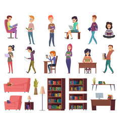 students with books people in library reading in vector image