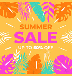 summer sale background with tropical leaves vector image