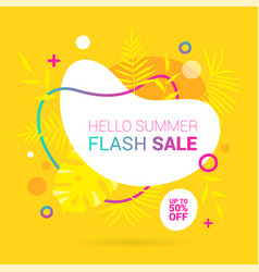 summer sale lettering template banner in yellow vector image