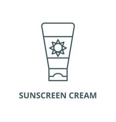 sunscreen cream line icon linear concept vector image